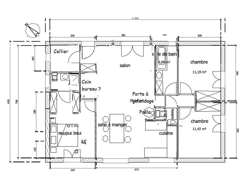 Maison plein pied de 95m dans le pas de calais 71 - Plan maison avec cotation ...
