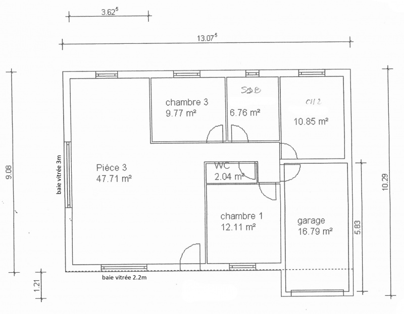Plan maison 90m2 plain pied for Plan maison en l 3 chambres garage