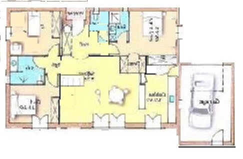 plan maison rectangle plein pied 100m2