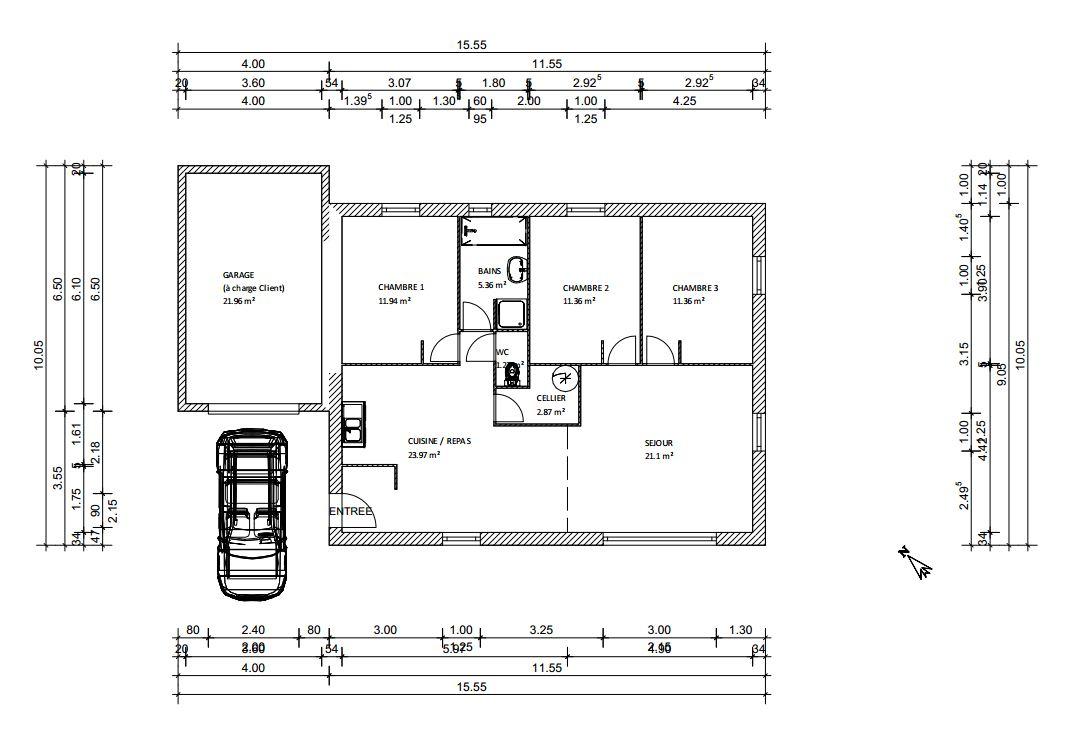Nouveau plan nouveaux problemes pp 90m2 entree sud 22 for Plan maison sud est