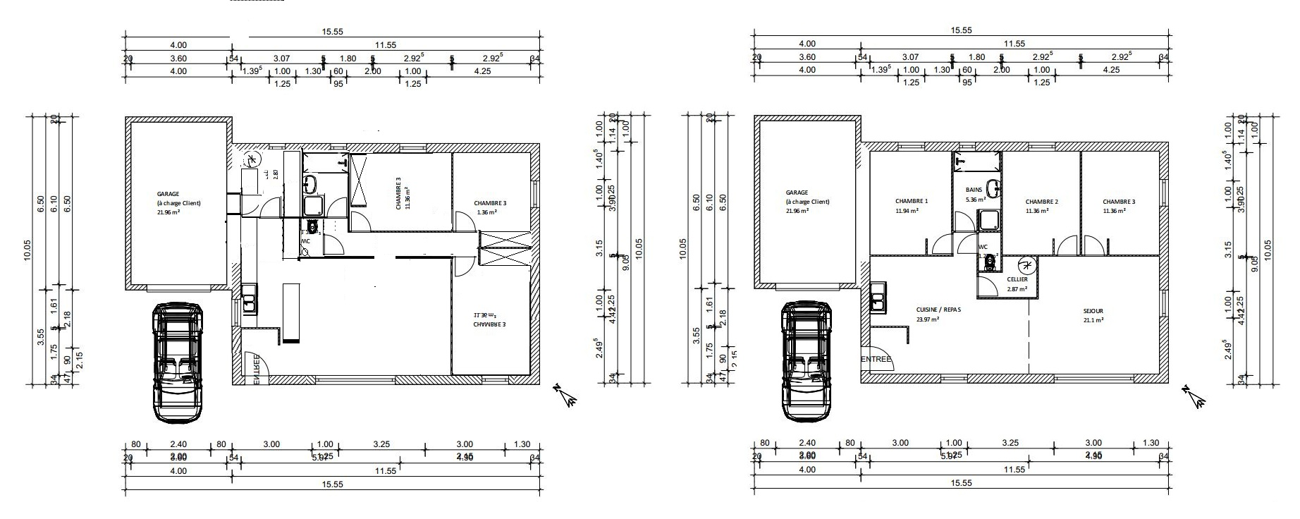 Plan maison garage a gauche for Plan maison bungalow avec garage