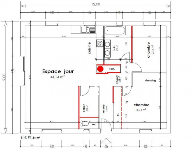 Optimiser maison compacte 90 m nouveau plan p 5 for Dimension porte entree
