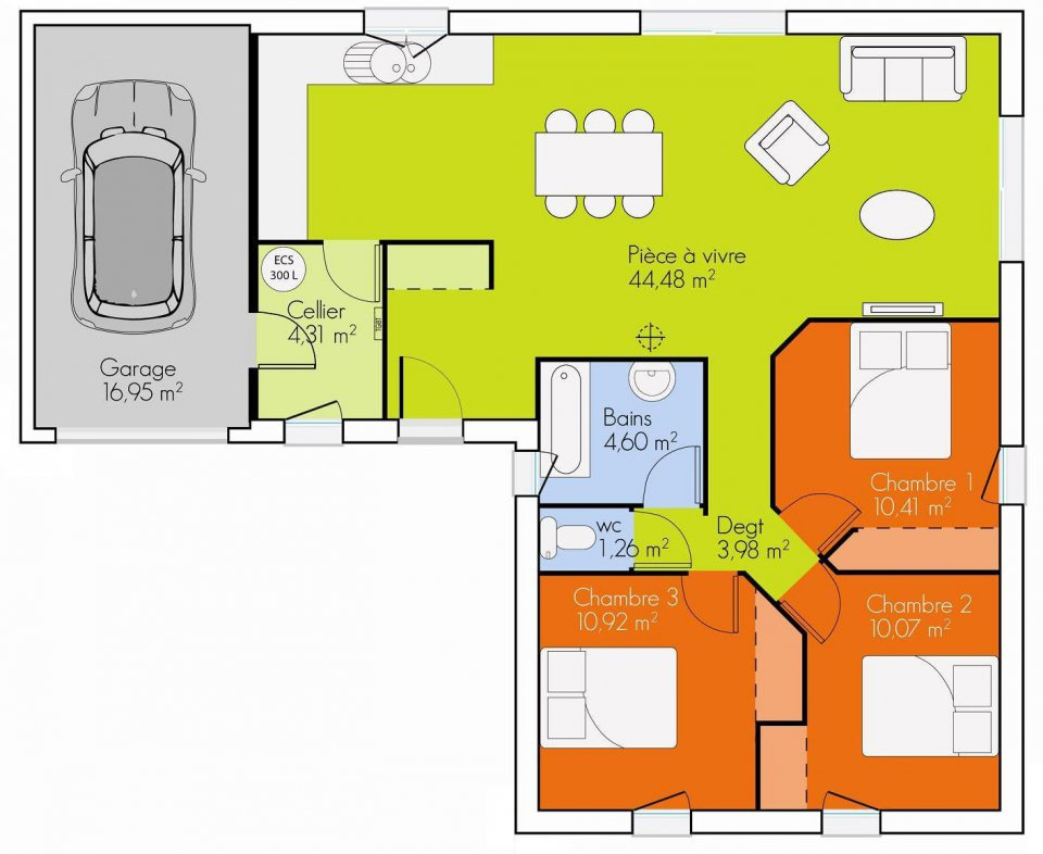 Plan maison plain pied 3 chambres 90m2 for Plan maison contemporaine plain pied