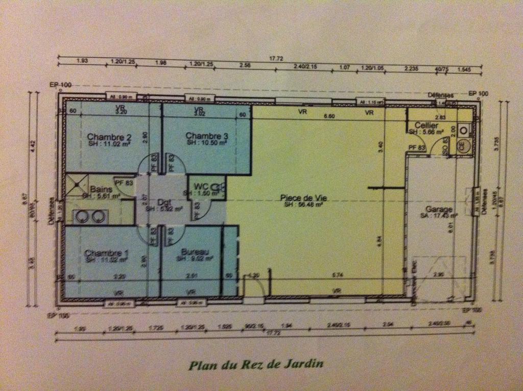 Très Plan Maison 3 Chambres Plain Pied Garage. Excellent With Plan  MV95