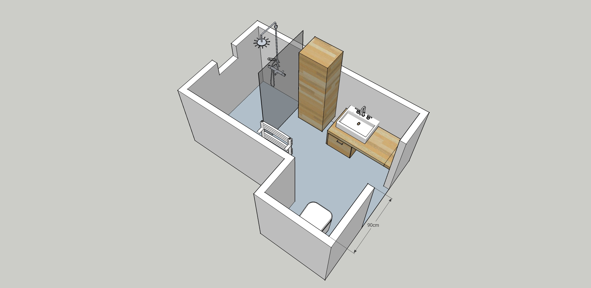 Plan salle d'eau 6m2
