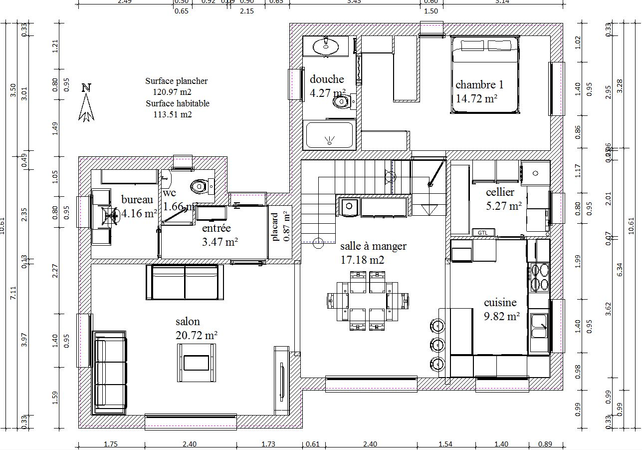 Plan maison r 1 120m2 rt2012 254 messages for Plan maison 150m2 avec etage