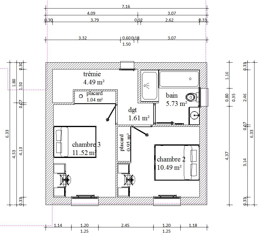 Plan maison r 1 120m2 rt2012 254 messages for Plan de maison 120m2