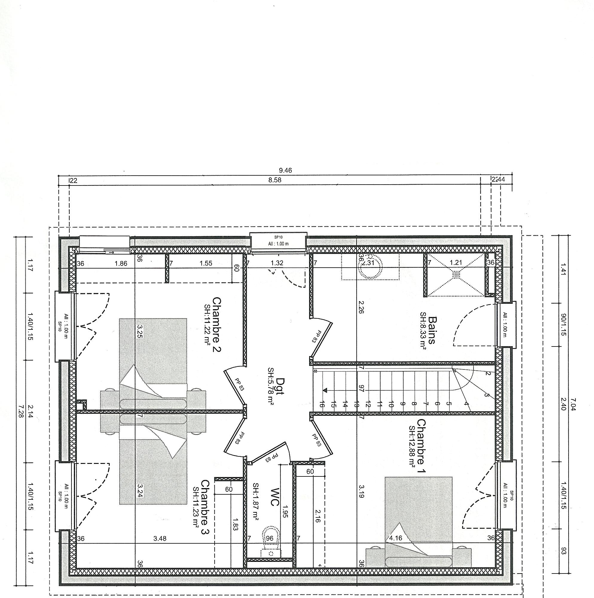 Plan maison r 1 entre 140 et 155m 106 messages for Plan maison garage a droite