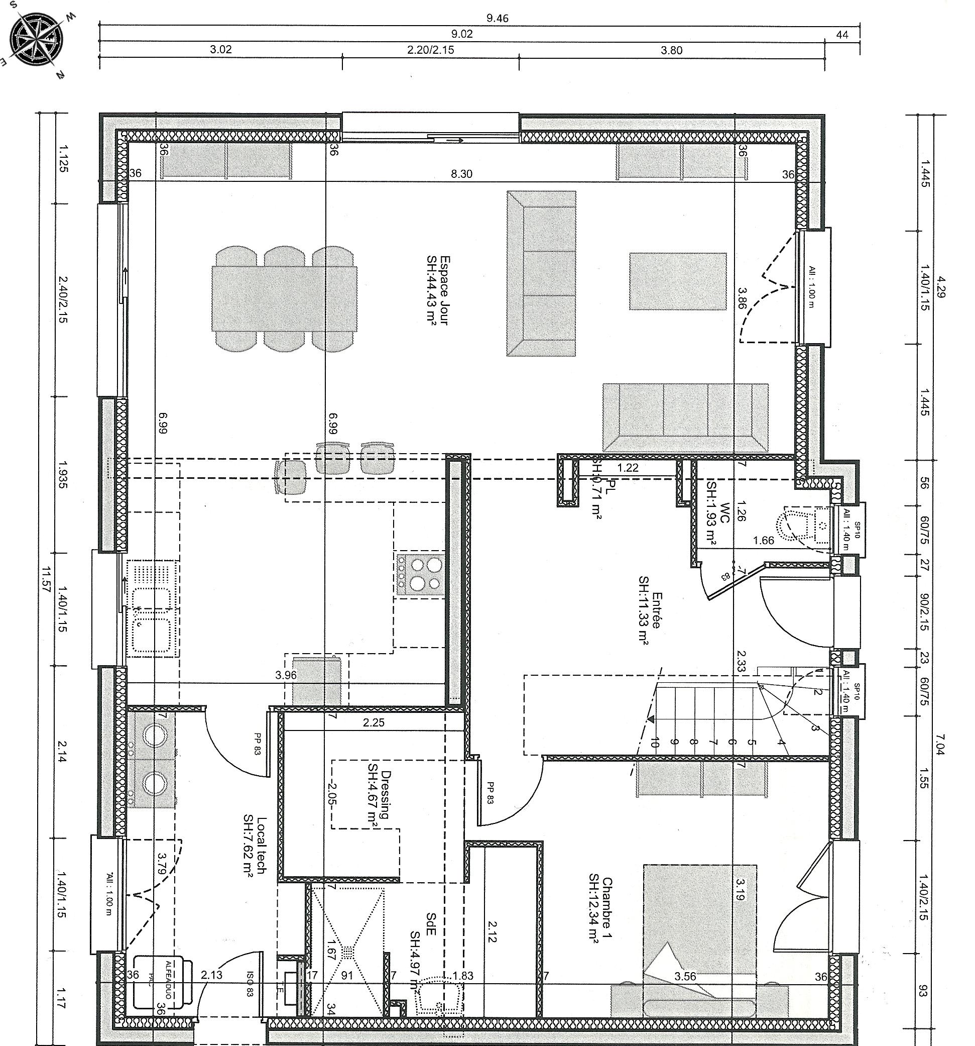 plan de maison r+1 avec garage