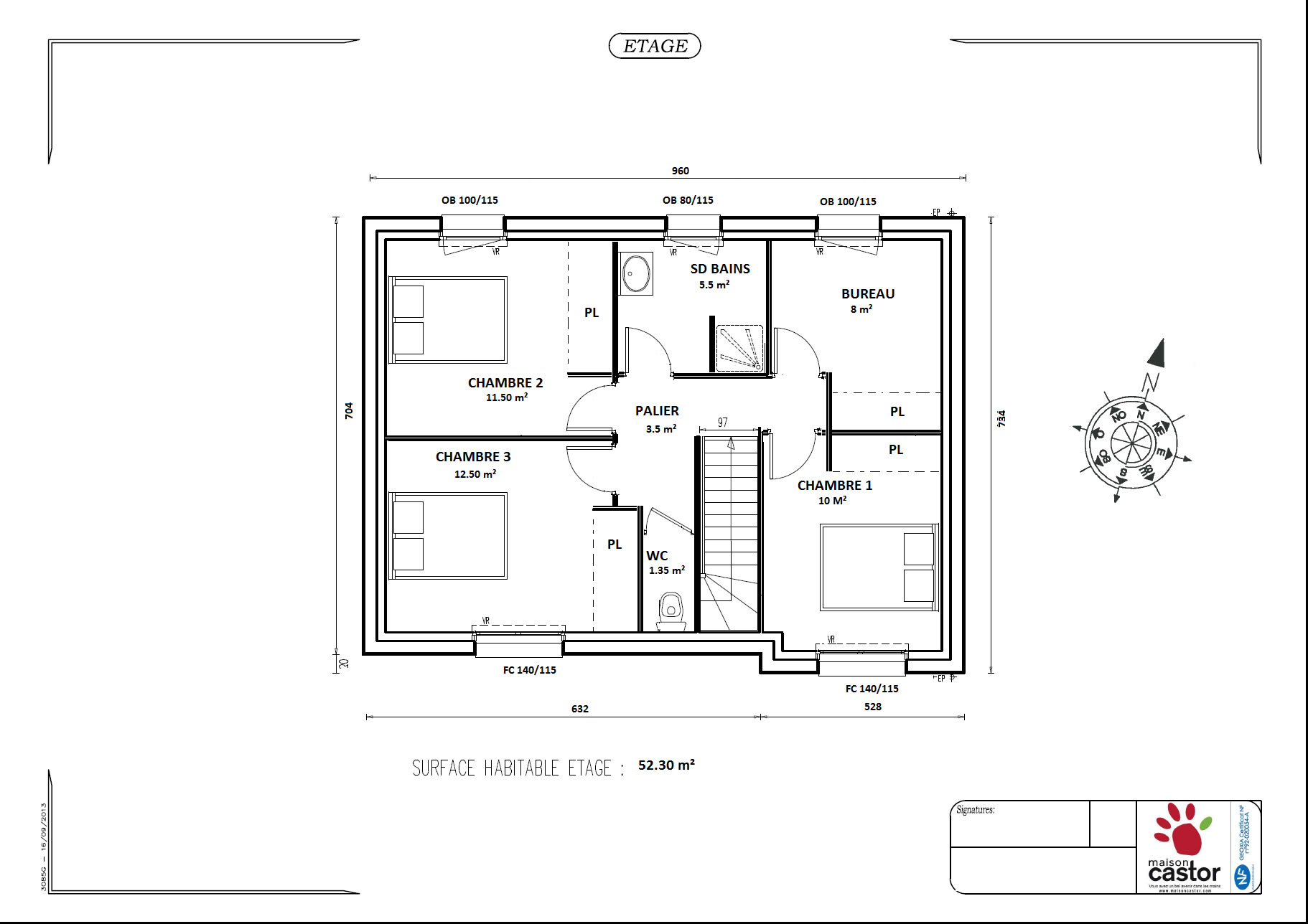 Plan maison r 1 de 92m2 13 messages for Plan maison 3 faces