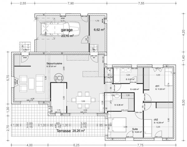 plan maison 110m plain pied 127 messages. Black Bedroom Furniture Sets. Home Design Ideas