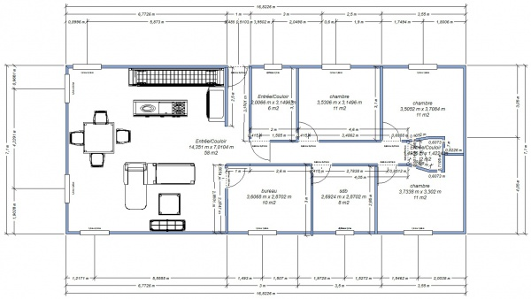 Plan maison 117m2 17 messages for Plan maison en longueur