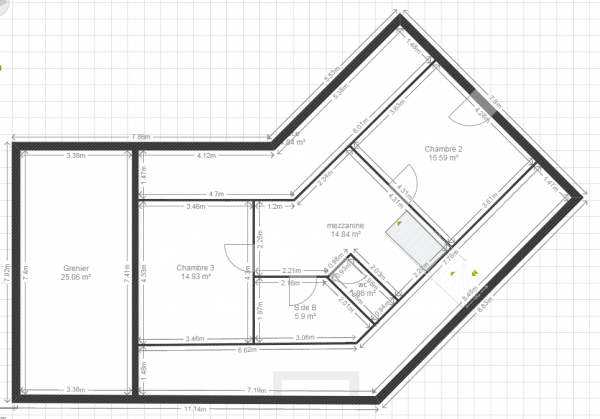Plan maison en v 130 m2 44 messages for Plan maison etage 2 chambres