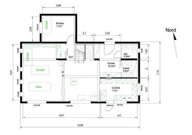 plan d 39 une maison 155 m sur r 1 pour avis 106 messages page 2. Black Bedroom Furniture Sets. Home Design Ideas