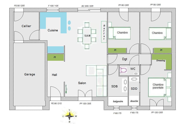 plan maison plain pied 83m2