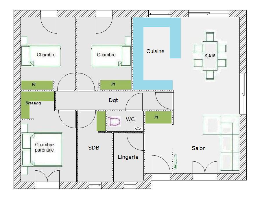 plan de maison 88m2