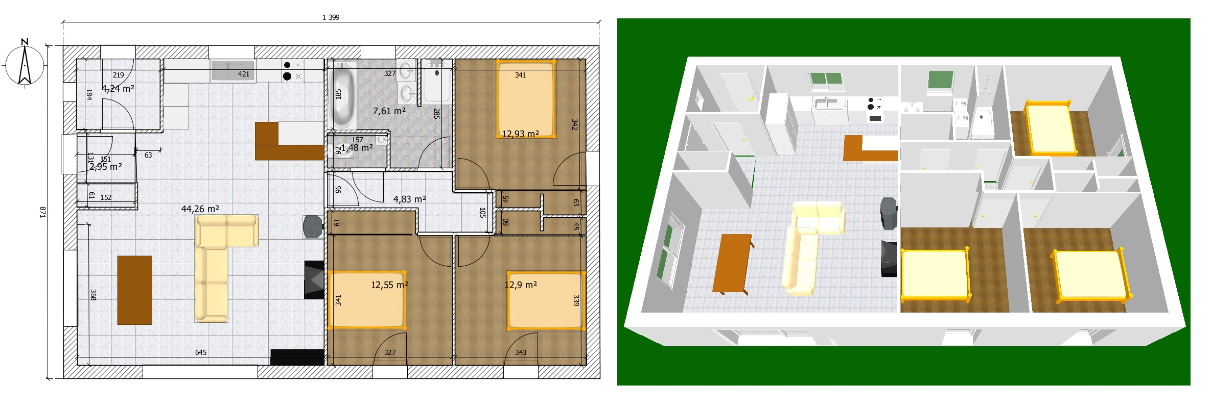 Plan maison 90m2 219 messages page 5 for Construction maison 5 chambres