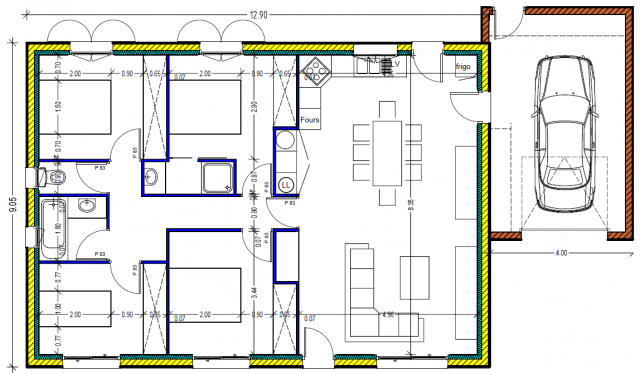 Plan maison plein pied 100m2 rectangle 102 messages page 3 for Plan de maison de 120m2 avec garage
