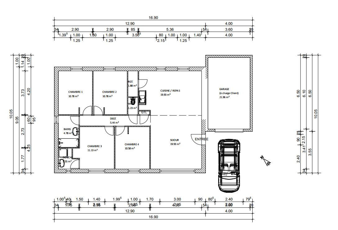 plan maison plein pied 100m2 rectangle - Plan De Maison 100m2 Plein Pied