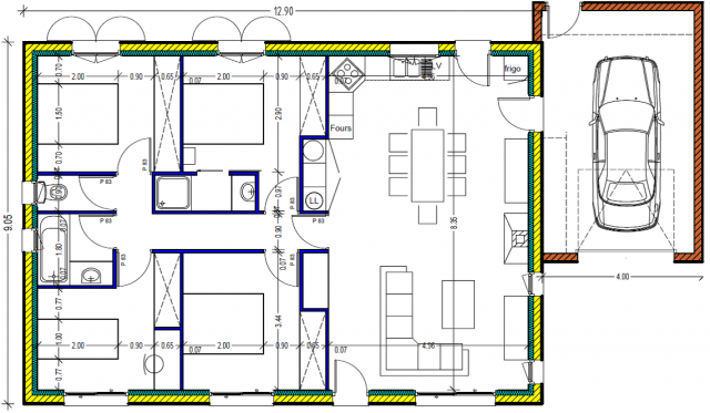 plan maison plein pied 100m2 rectangle - 102 messages - page 4 - Plan De Maison 4 Chambres Plain Pied Gratuit