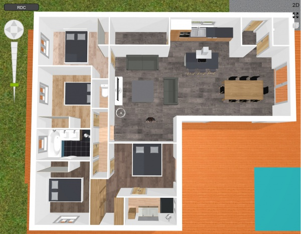 Plan maison plein pied 123m 8 messages for Plan maison 80m2 plein pied