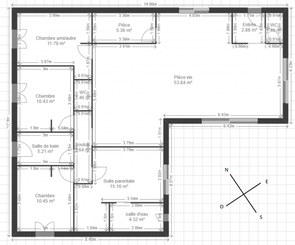 Plan maison plein pied 123m 8 messages for Plan de maison plain pied 100m2