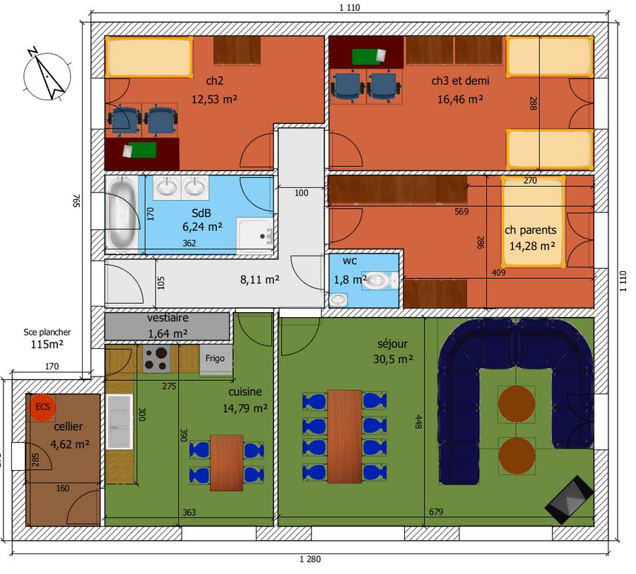 plan pour maison plain pied entre 100 et 110m2 370 messages page 17. Black Bedroom Furniture Sets. Home Design Ideas