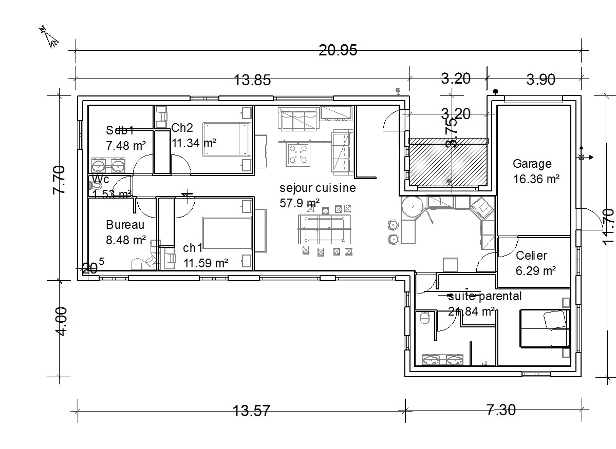 Plan maison 6 metre de large for Plan maison avec garage