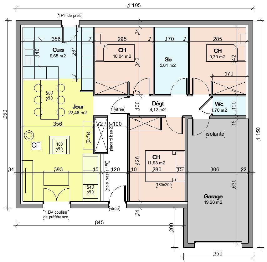 Plan de maison 85m2 plain pied for Simulation plan de maison