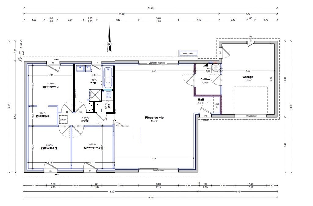 Plan maison plain pied 96m2 73 messages page 3 for Toilettes design maison