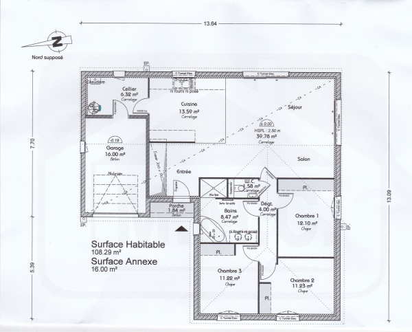Plan de notre maison en l de pp 110m2 100 messages for Plan maison positive