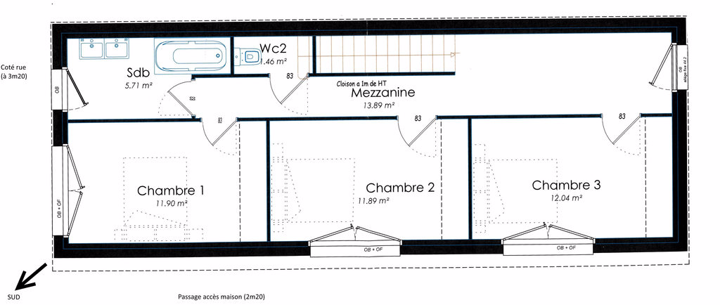 Plan maison etroite for Plan maison en longueur