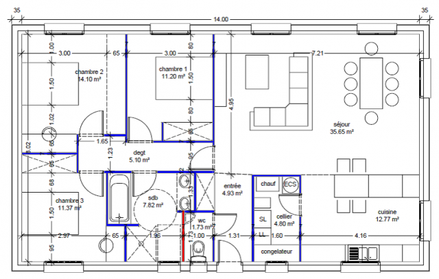 Plan pied 110m2 53 messages page 4 - Plan de maison 110m2 ...