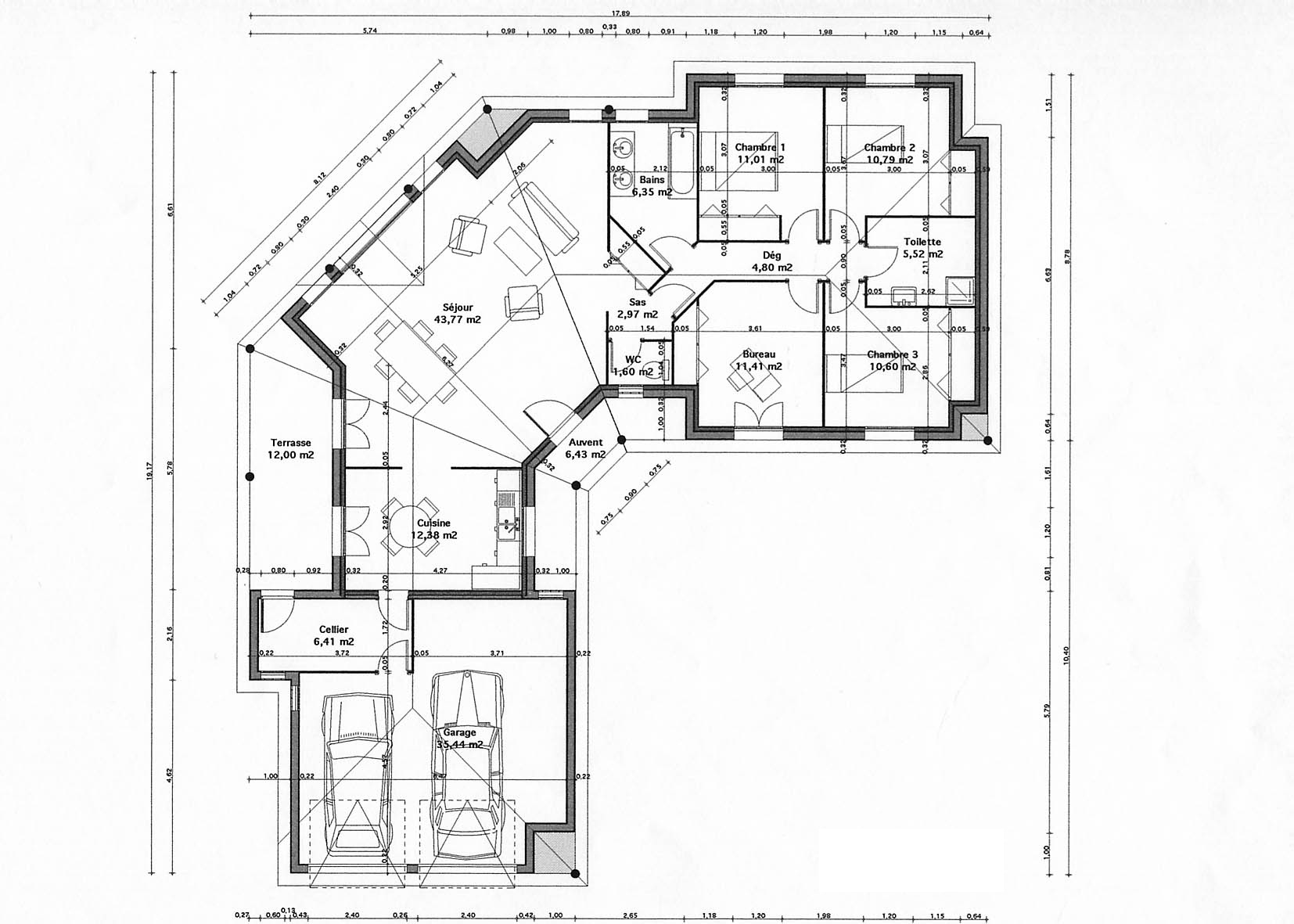Plan maison c for Plan maison architecte plain pied