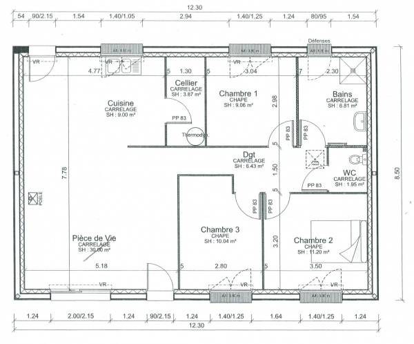 Plan plain pied 80m2 locatif pmr 17 messages - Norme porte paliere appartement ...