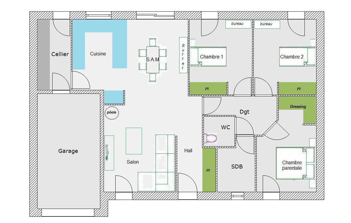 Plan plain pied 90 m² pour le plus grand nombre - 66 messages