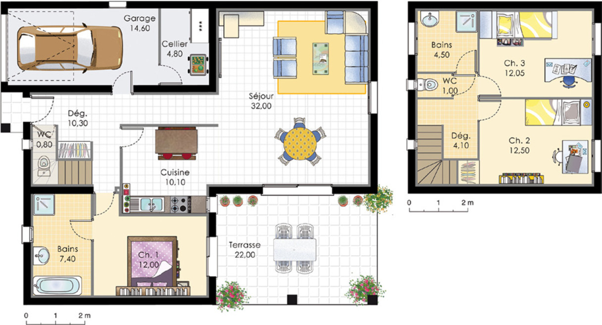 Good Plan De Maison Etage M With Plan Maison M Plainpied Chambres With Plan Maison  90m2 3 Chambres.