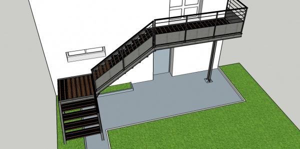 Projet escalier ext rieur m tal et bois 7 messages for Dimension escalier exterieur