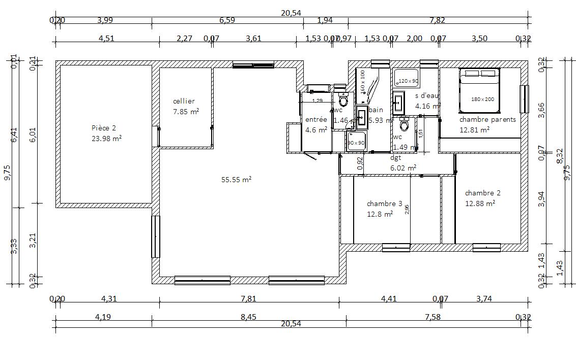 Stunning surface habitable m les murs font dupaisseur il - Plan maison 180 m2 plain pied ...