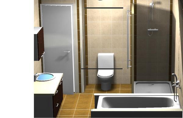 Mon projet salle de bain 2 nouvelles implantations 27 for Salle de bain douche et baignoire sous pente