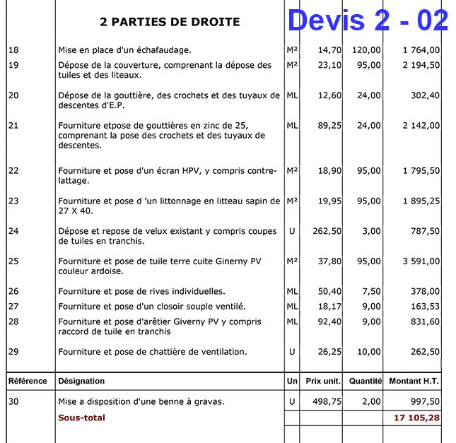 R fection de ma toiture quatre devis re us 22 messages for Devis pour toiture