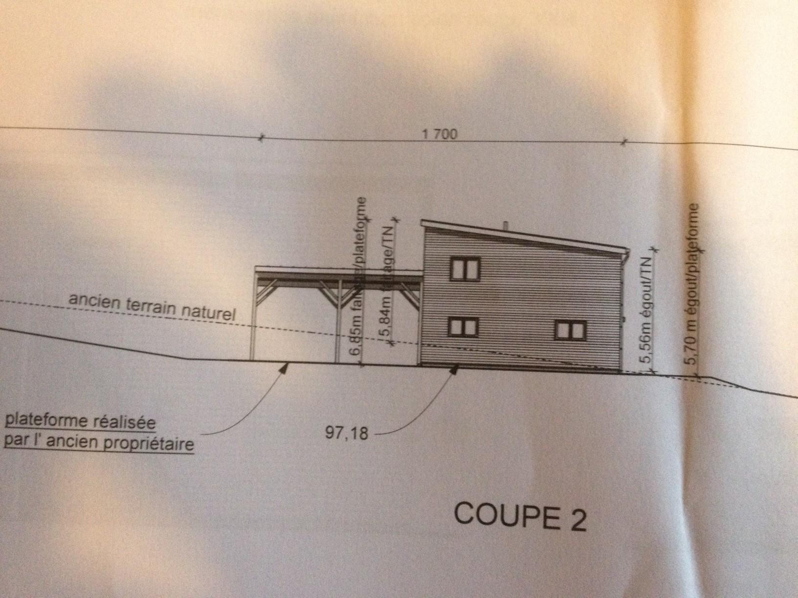 Deuxieme refus de notre permis de construire 43 - Un plan en coupe du terrain et de la construction ...