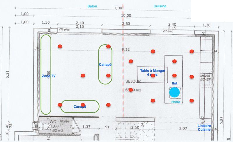 Avis emplacement spots pour pi ce de vie 9 messages - Eclairage spot salon ...