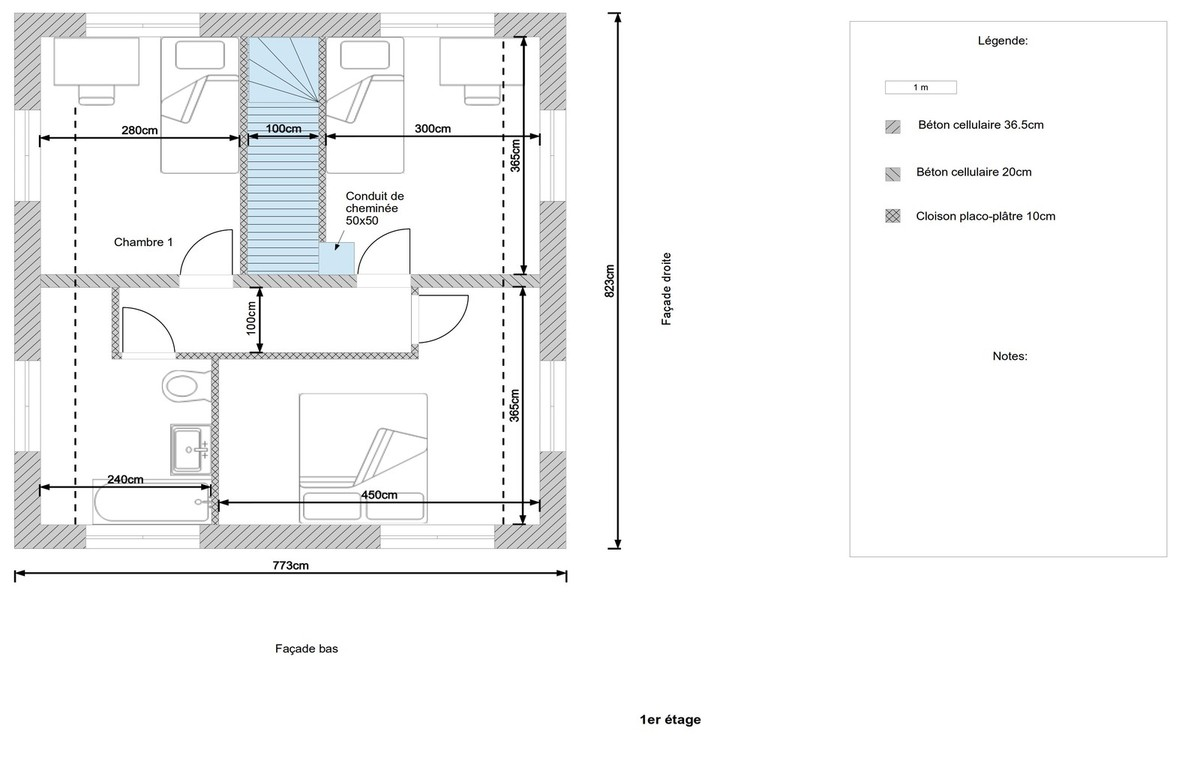 Plan maison 100m etage for Plan maison deux etages